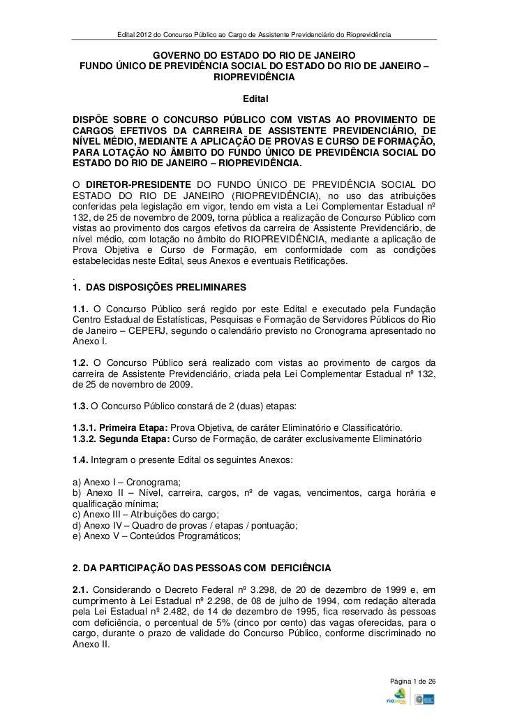 Edital 2012 do Concurso Público ao Cargo de Assistente Previdenciário do Rioprevidência              GOVERNO DO ESTADO DO ...