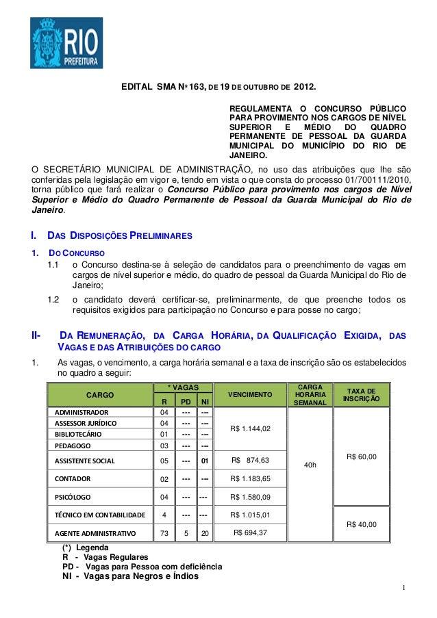 EDITAL SMA Nº 163, DE 19 DE OUTUBRO DE 2012.                                                        REGULAMENTA O CONCURSO...