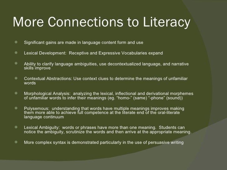 significant language development and academic growth Language development and literacy  competence is important for the successful achievement of academic and social competence  for promoting language growth, and.