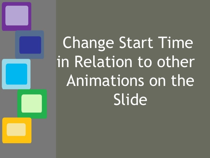 Change Start Time  in Relation to other  Animations on the Slide