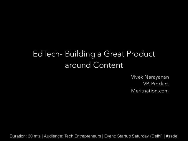 Ed tech - building a great product around content