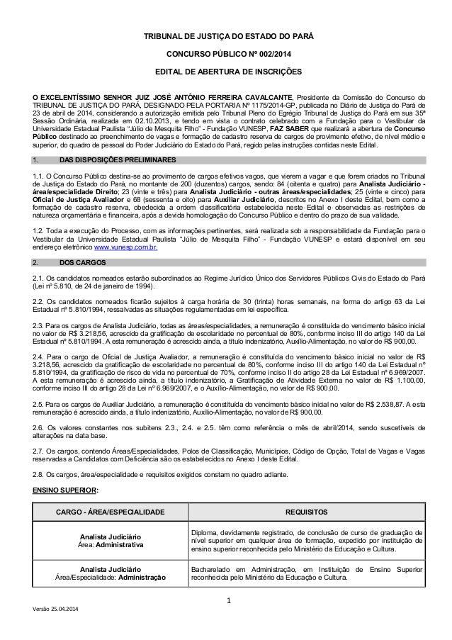 1 Versão 25.04.2014 TRIBUNAL DE JUSTIÇA DO ESTADO DO PARÁ CONCURSO PÚBLICO Nº 002/2014 EDITAL DE ABERTURA DE INSCRIÇÕES O ...