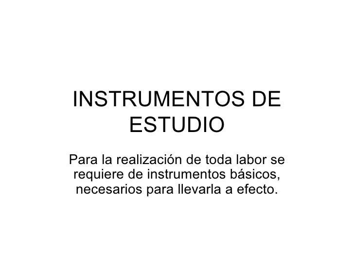 instrumentos de estudio