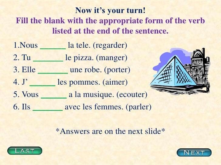 french present tense worksheets pdf