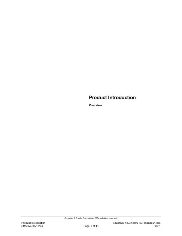 Product Introduction                                                 Overview                       Copyright © Oracle Cor...