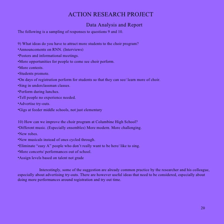 Ideas Action Research Projects Action Research Project Data