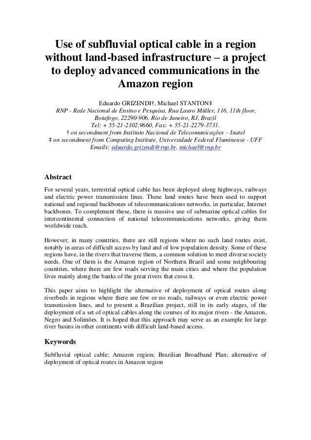 Use of subfluvial optical cable in a region without land-based infrastructure – a project to deploy advanced communication...