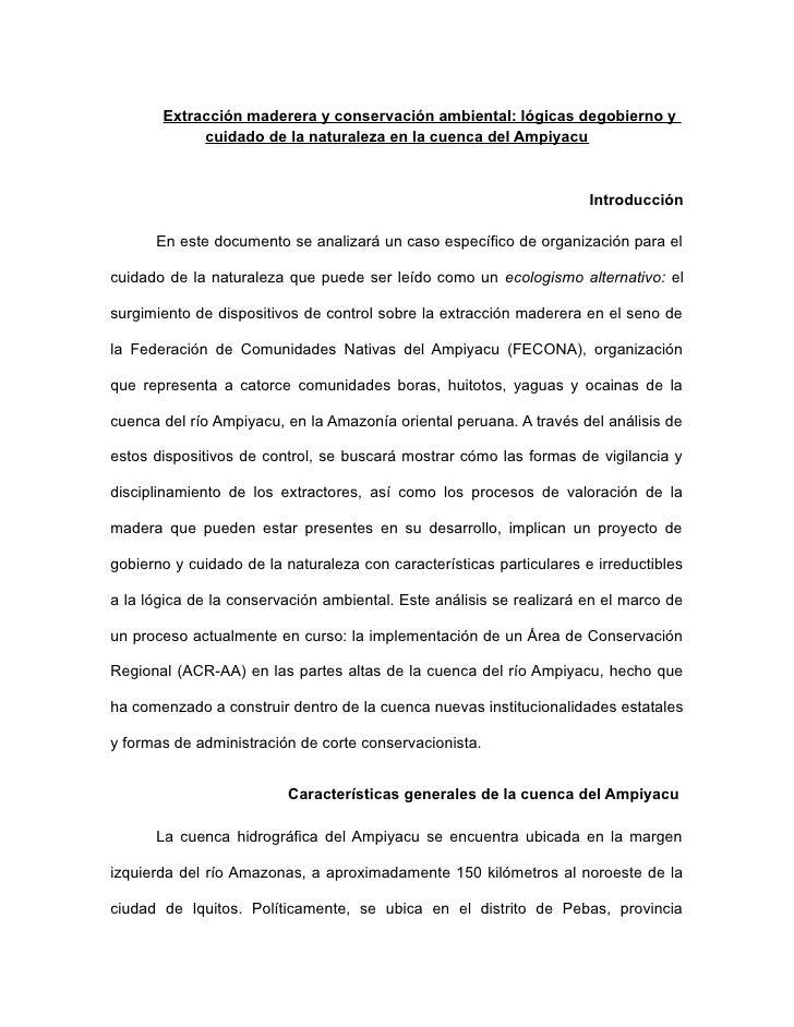 Extracción maderera y conservación ambiental: lógicas de gobierno y cuidado de la naturaleza en la cuenca de Ampiyacu. Por Eduardo Romero