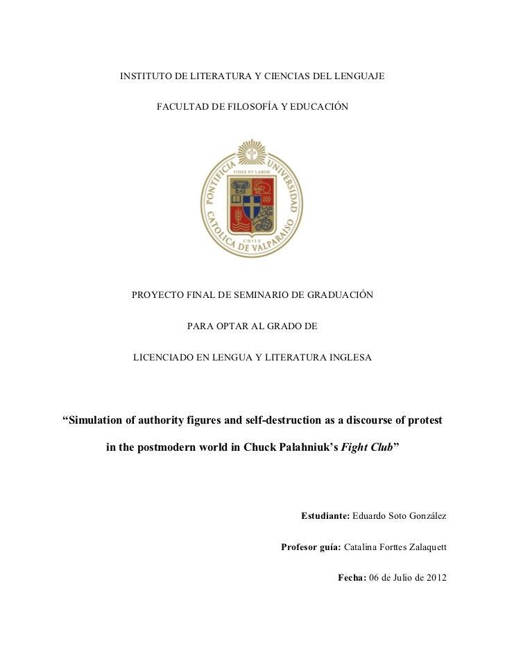 INSTITUTO DE LITERATURA Y CIENCIAS DEL LENGUAJE                   FACULTAD DE FILOSOFÍA Y EDUCACIÓN              PROYECTO ...