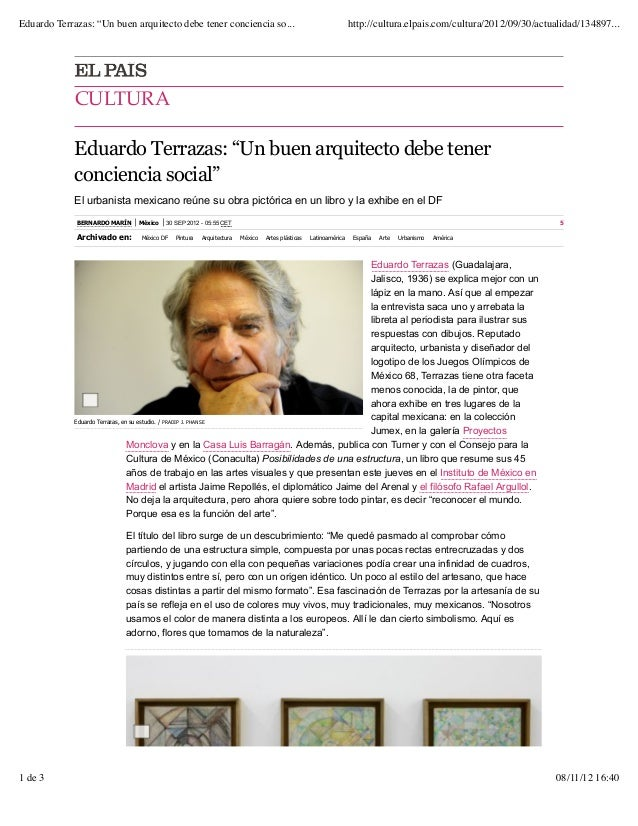 "Eduardo terrazas: ""un buen arquitecto debe tener conciencia social"""