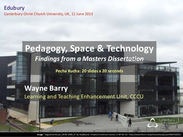 Pedagogy, Space & Technology: Findings from a Masters Dissertation