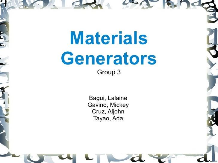 Materials Generators Hand-outs
