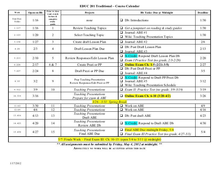 EDUC 201-001 Calendar SP12