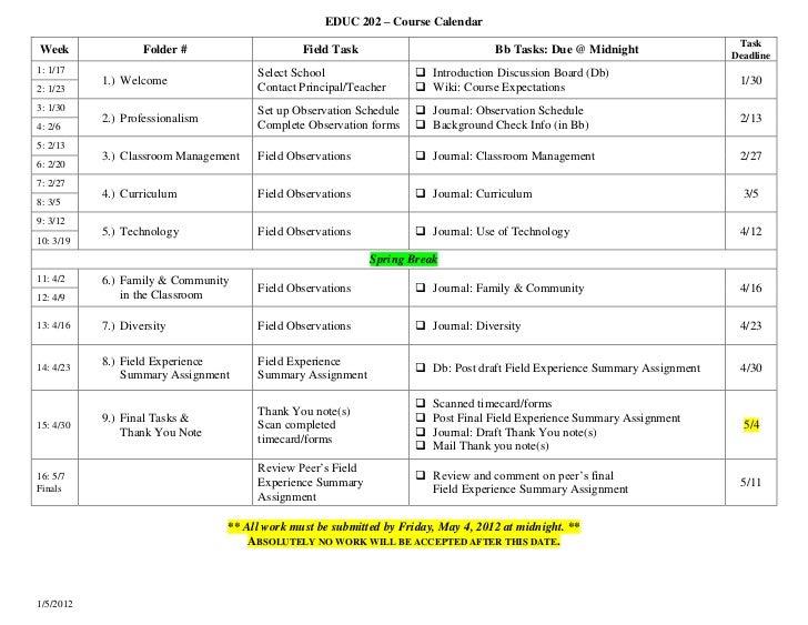 EDUC 202 – Course Calendar                                                                                                ...
