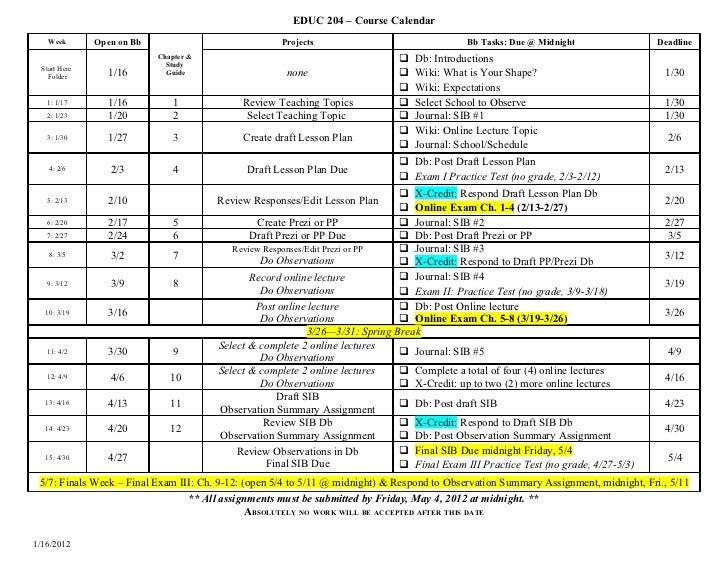 EDUC 204W Calendar SP12