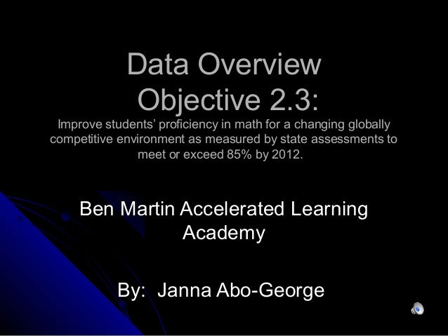 Data OverviewData Overview Objective 2.3:Objective 2.3: Improve students' proficiency in math for a changing globallyImpro...