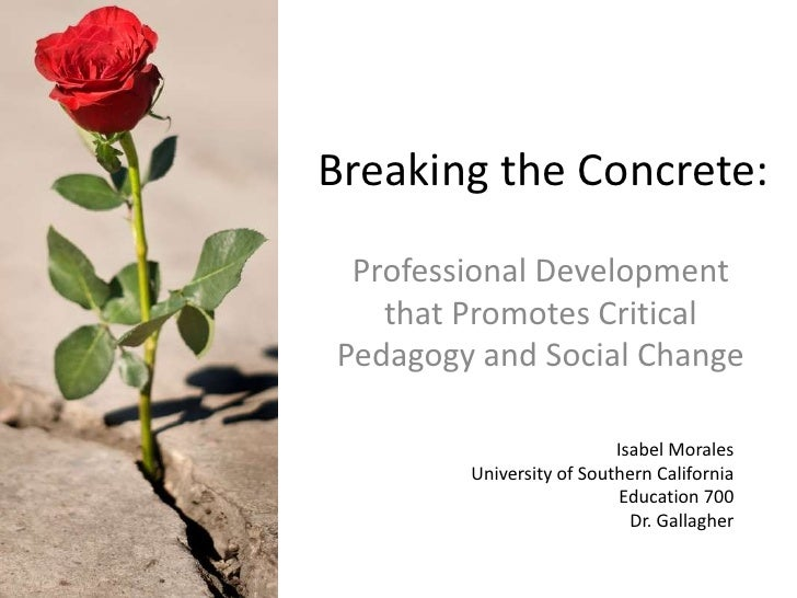 Breaking the Concrete: Professional Development   that Promotes CriticalPedagogy and Social Change                        ...