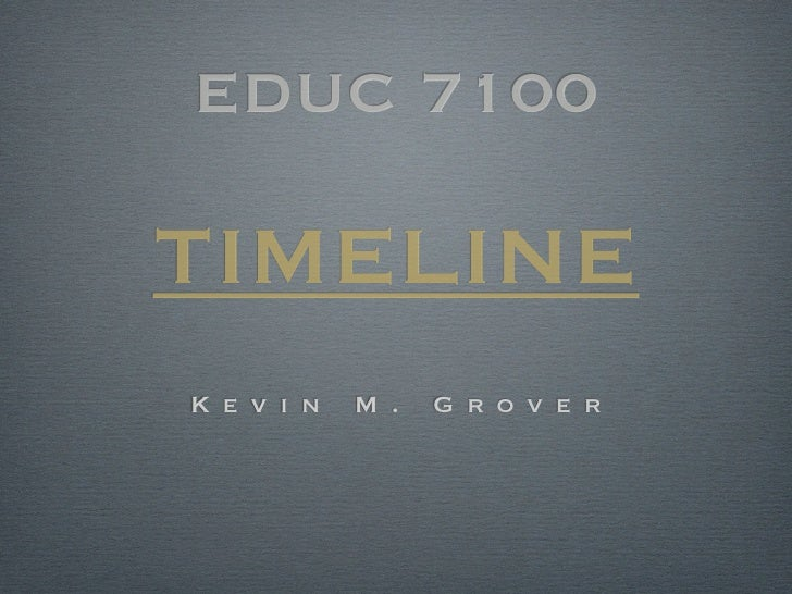 Kevin Grover EDUC 7100 Timeline