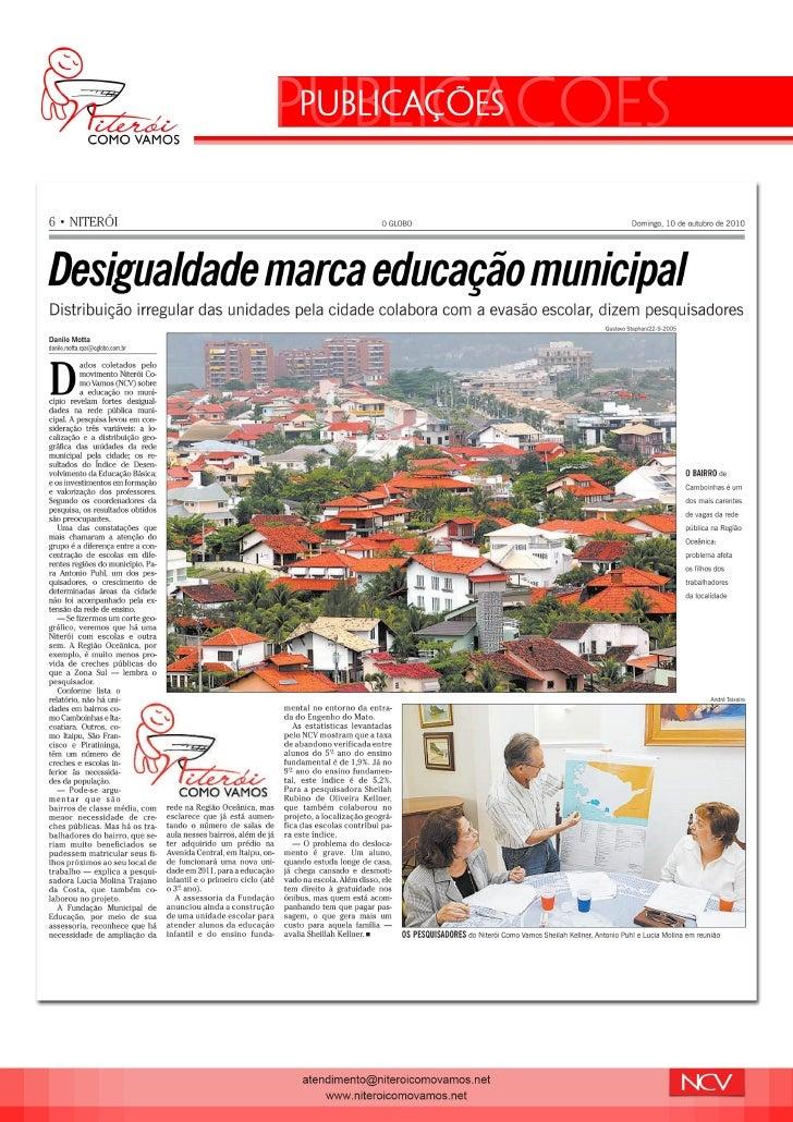 Indicadores NCV: Desigualdade marca Educação em Niterói