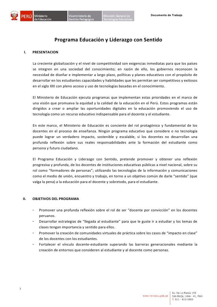 Documento de Trabajo                            Programa Educación y Liderazgo con Sentido      I.    PRESENTACION        ...