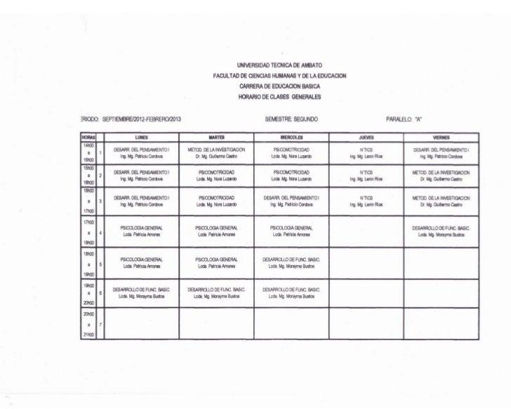 Horarios Carrera de Educación Básica UTA - FCHE