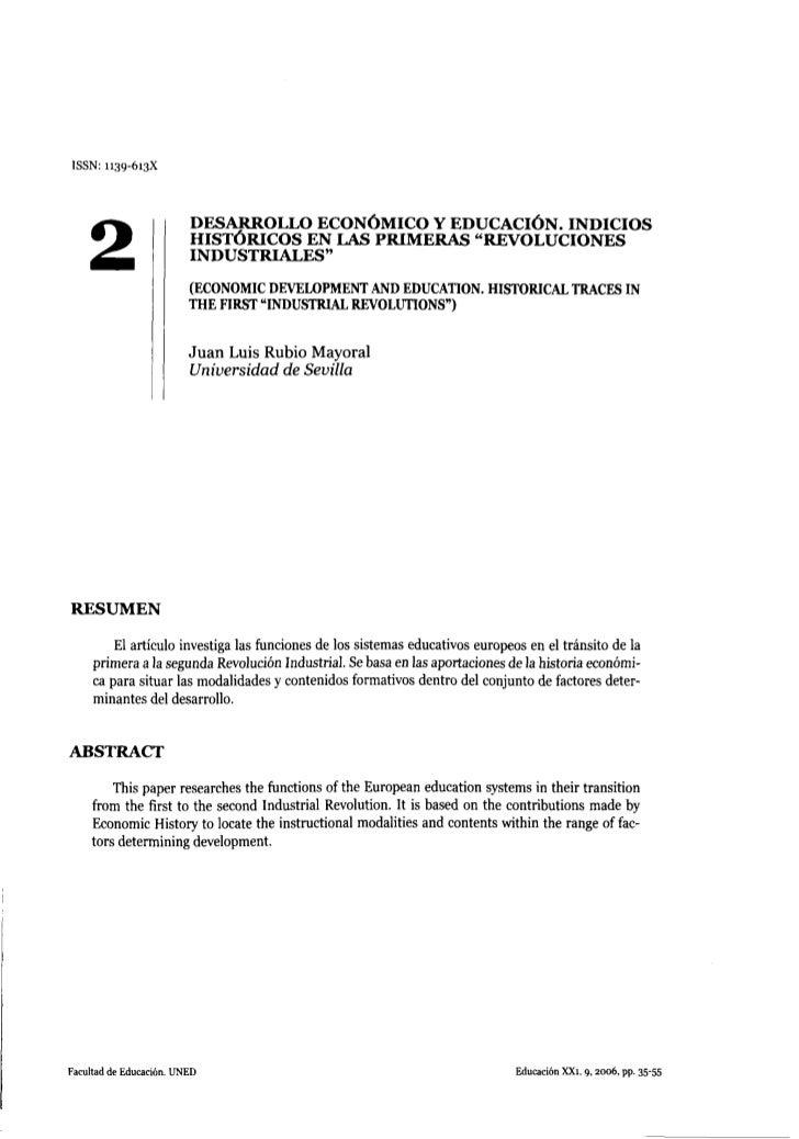 ISSN: 1139-613X                         DESARROLLO ECONÓMICO Y EDUCACIÓN. INDICIOS    2                    HISTÓRICOS EN L...