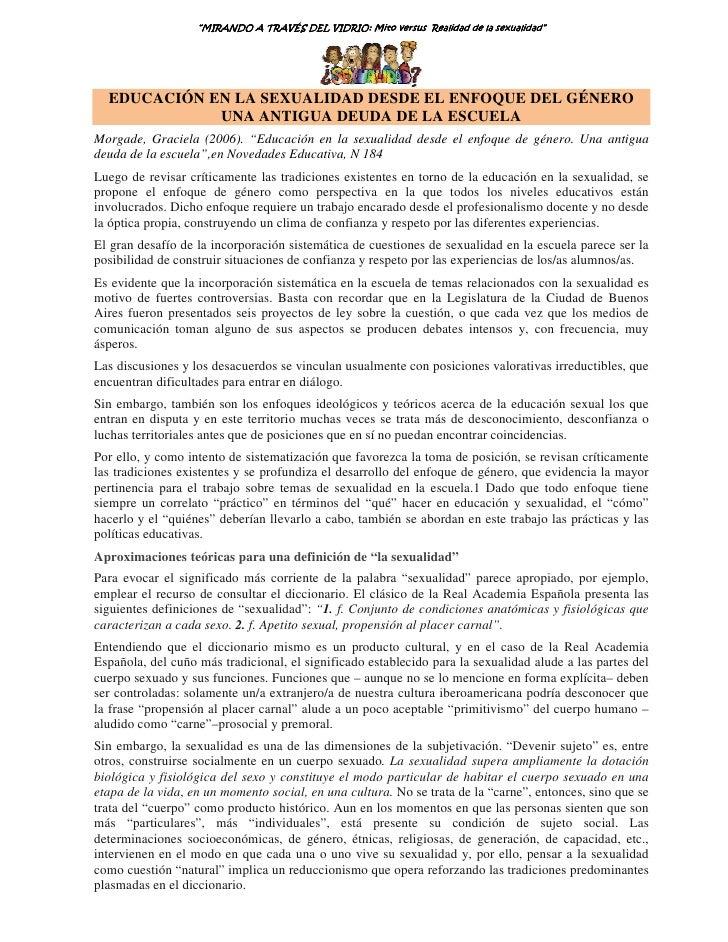 """""""MIRANDO A TRAVÉS DEL VIDRIO: Mito versus Realidad de la sexualidad""""                                          VIDRIO      ..."""