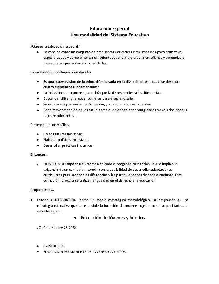 Educación Especial                          Una modalidad del Sistema Educativo¿Qué es la Educación Especial?       Se con...
