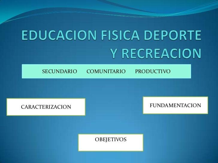 SECUNDARIO   COMUNITARIO    PRODUCTIVOCARACTERIZACION                       FUNDAMENTACION                     OBEJETIVOS