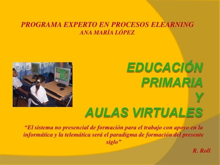 """PROGRAMA EXPERTO EN PROCESOS ELEARNING                      ANA MARÍA LÓPEZ""""El sistema no presencial de formación para el ..."""