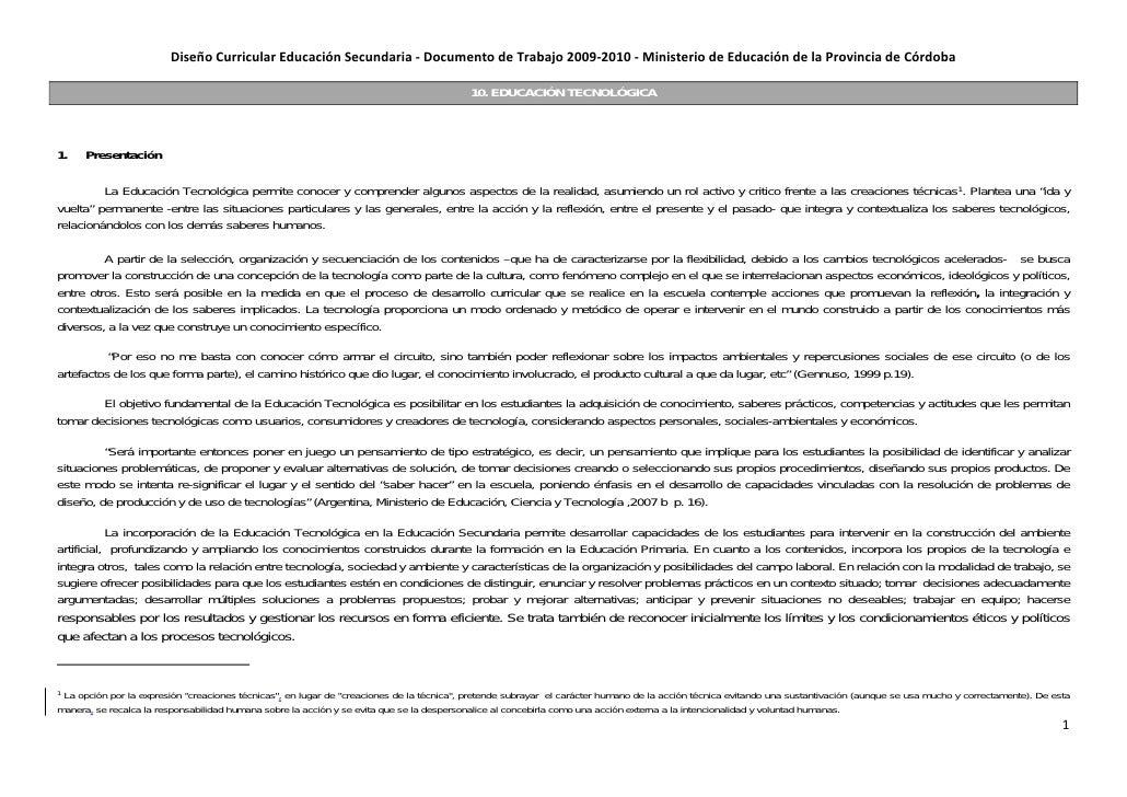 DiseñoCurricularEducaciónSecundaria‐DocumentodeTrabajo2009‐2010‐MinisteriodeEducacióndelaProvinciadeCórdo...