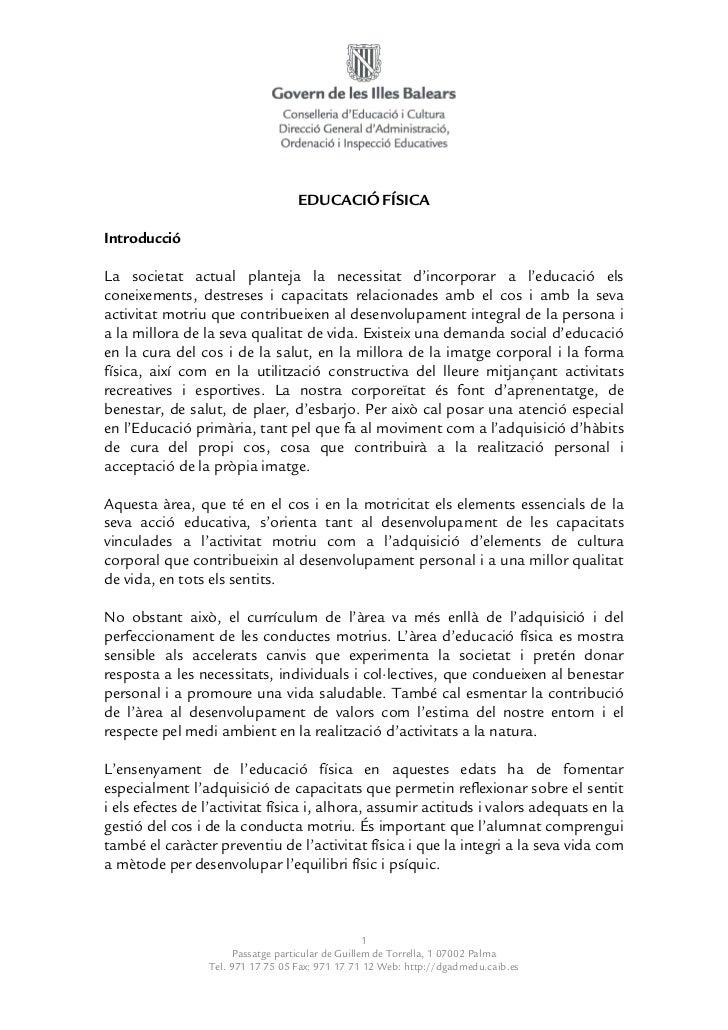 Currículum Educació Física