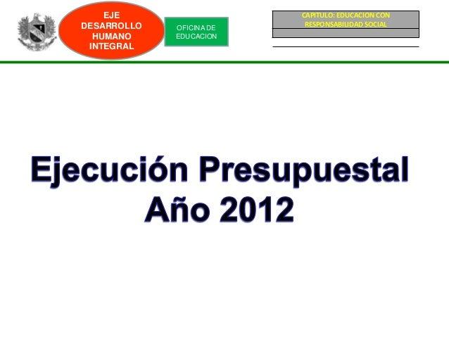 EJE                   CAPITULO: EDUCACION CONDESARROLLO   OFICINA DE    RESPONSABILIDAD SOCIAL  HUMANO     EDUCACION INTEG...