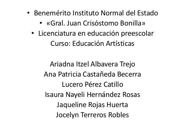 • Benemérito Instituto Normal del Estado • «Gral. Juan Crisóstomo Bonilla» • Licenciatura en educación preescolar Curso: E...