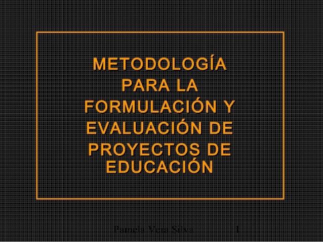 Pamela Vera Silva 1 METODOLOGÍAMETODOLOGÍA PARA LAPARA LA FORMULACIÓN YFORMULACIÓN Y EVALUACIÓN DEEVALUACIÓN DE PROYECTOS ...