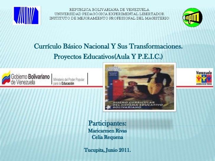 Currículo Básico Nacional Y Sus Transformaciones.      Proyectos Educativos(Aula Y P.E.I.C.)                 Participantes...