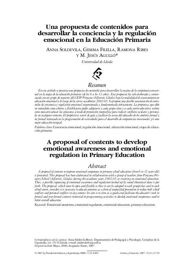 Una propuesta de contenidos para desarrollar la conciencia y la regulación emocional en la Educación Primaria ANNA SOLDEVI...