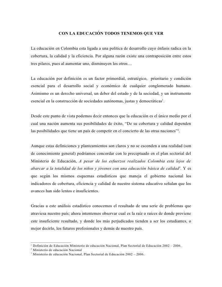 PROBLEMATICA DE EDUCACION EN COLOMBIA