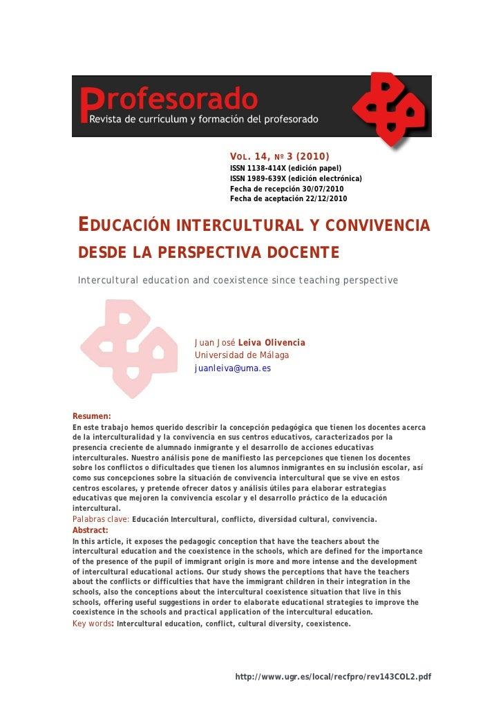 Educacion interculturalidad y convivencia desde la perspectiva docente