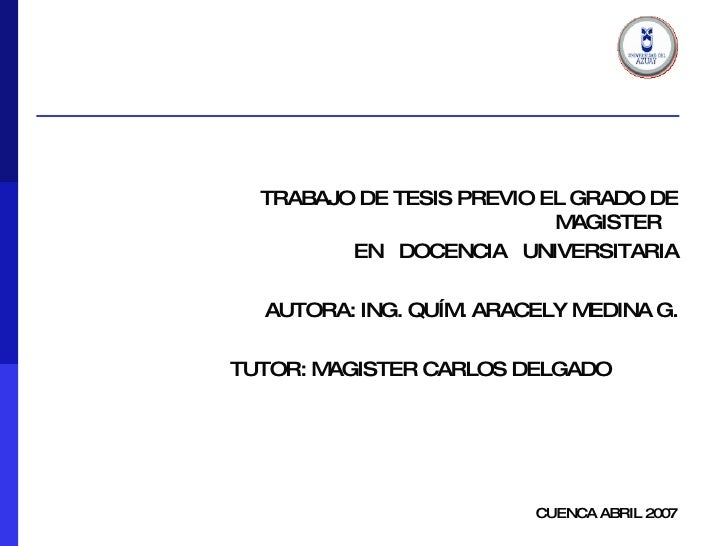<ul><ul><ul><ul><ul><li>TRABAJO DE TESIS PREVIO EL GRADO DE MAGISTER  </li></ul></ul></ul></ul></ul><ul><ul><ul><ul><ul><l...