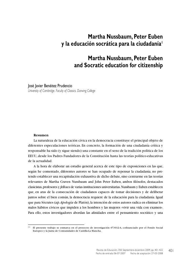 Martha Nussbaum, Peter Euben                              y la educación socrática para la ciudadanía1                    ...