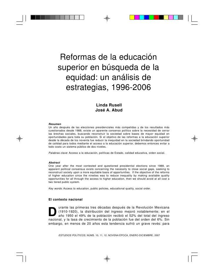 Reformas de la educación       superior en búsqueda de la         equidad: un análisis de         estrategias, 1996-2006  ...