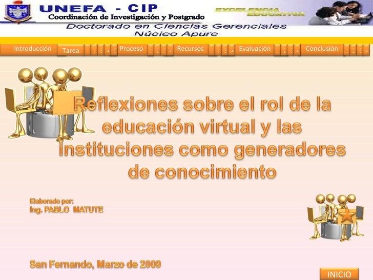 INICIO Coordinación de Investigación y Postgrado  - CIP Introducción Proceso Recursos Evaluación Conclusión Tarea 1 2 3 4 ...