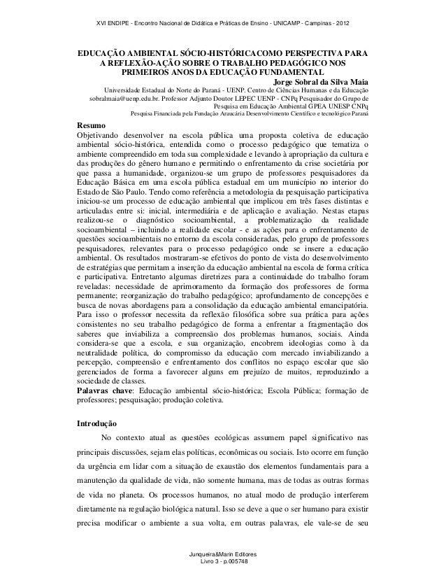 EDUCAÇÃO AMBIENTAL SÓCIO-HISTÓRICACOMO PERSPECTIVA PARAA REFLEXÃO-AÇÃO SOBRE O TRABALHO PEDAGÓGICO NOSPRIMEIROS ANOS DA ED...