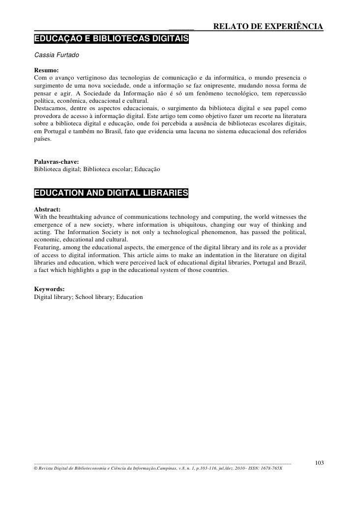 ______                                                     RELATO DE EXPERIÊNCIA EDUCAÇÃO E BIBLIOTECAS DIGITAIS Cassia Fu...