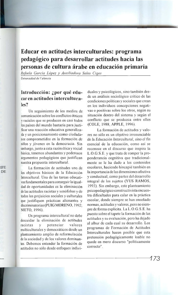 Educar actitudes interculturales