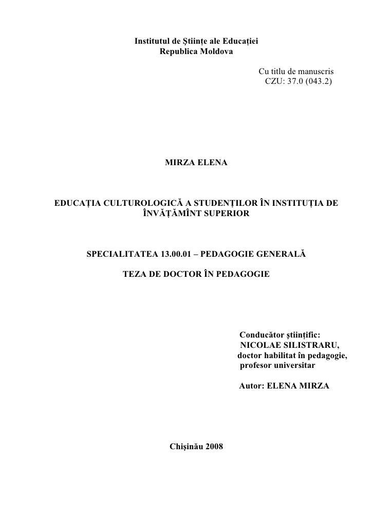 Institutul de Ştiinţe ale Educaţiei                      Republica Moldova                                                ...
