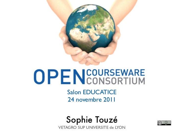 Salon EDUCATICE    24 novembre 2011   Sophie TouzéVETAGRO SUP UNIVERSITE de LYON