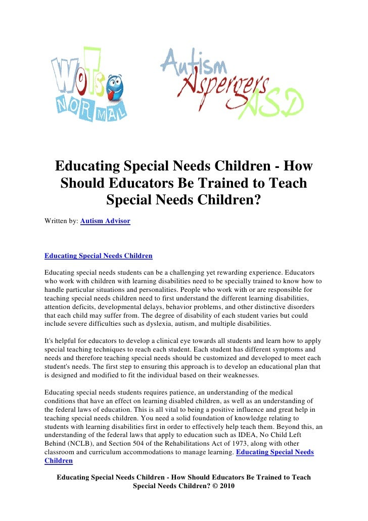 educating special needs students essay