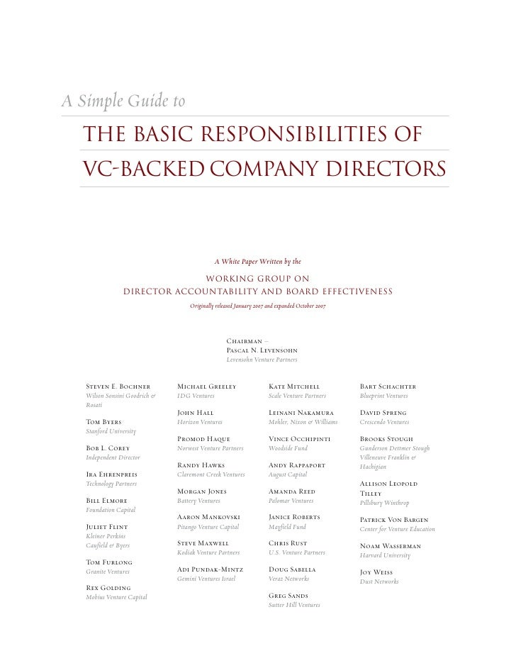 A Simple Guide to   THE BASIC RESPONSIBILITIES OF   VC-BACKED COMPANY DIRECTORS                                           ...